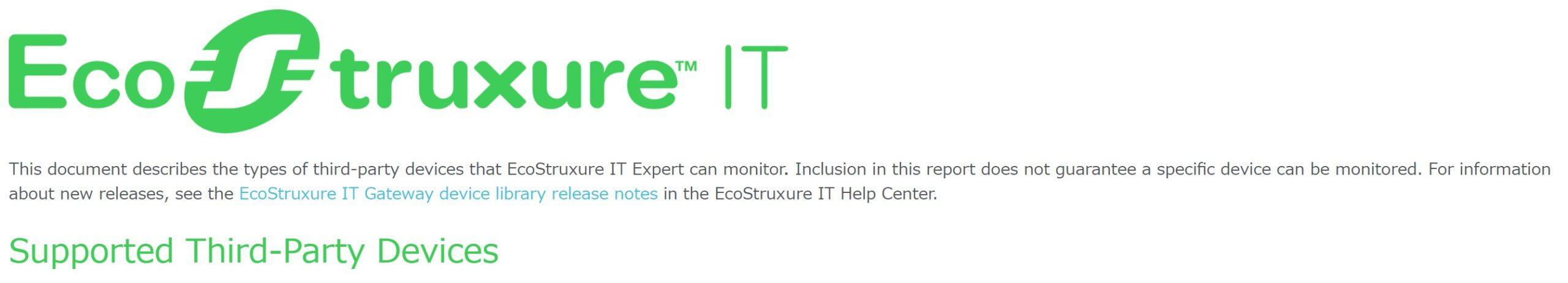 シュナイダーエレクトリック社の次世代DCIM EcoStruxure ITが、3rd-Partyデバイスのサポートを開始!